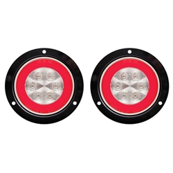 "4"" Round GloLightTM Clear Stop/Turn/Tail Light with Flange Mount  Pair"
