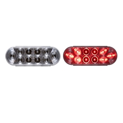 "6"" Oval Sealed Clear LED Stop/Turn/Tail Light (10 diodes) Red"