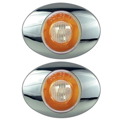 "Clear Lens GloLight Millennium Series 3"" Sealed LED Marker/Clearance Light Yellow Pair"