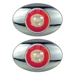 "Clear Lens GloLight Millennium Series 3"" Sealed LED Marker/Clearance Light Red Pair"