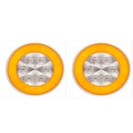 "4"" Round GloLightTM Clear Turn Light Amber Pair"