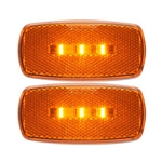 Amber Surface Mount LED Marker/Clearance Lights with Reflex w/Black Base Pair